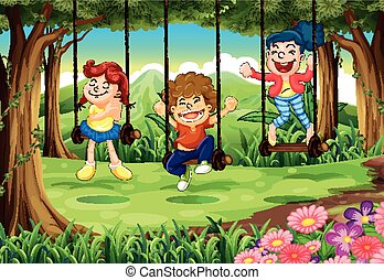Three Kids On Swings In The Woods