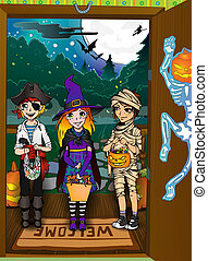 Three kids on the doorstep. Halloween tricks and treats