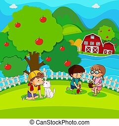 Three kids planting tree in the park