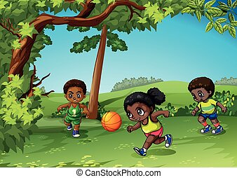 Three kids playing ball in the park