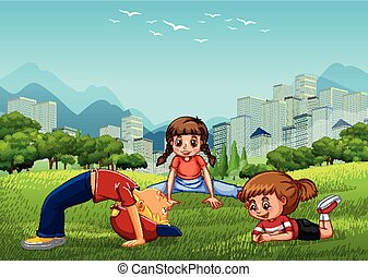 Three kids playing in the national park