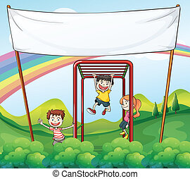 Three kids playing near the empty banner