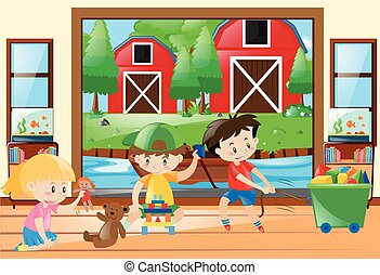 Three kids playing toys at home