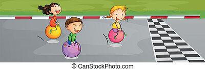 Three kids racing at the street