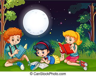Three kids reading books at night in the park