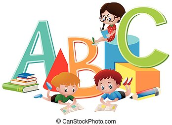 Three kids reading books
