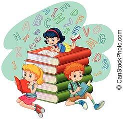 Three kids reading books