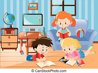Three kids reading in living room
