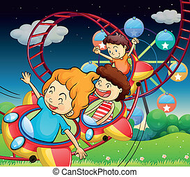 Three kids riding in a roller coaster
