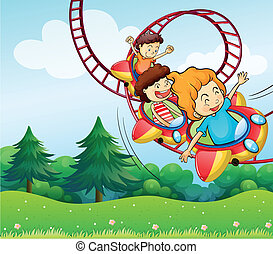 Three kids riding in the roller coaster