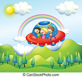 Three kids riding in the spaceship - Illustration of the...