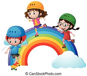 Three kids rollerskating over rainbow illustration