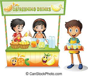 Three kids selling refreshing drinks