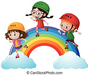 Three kids skating on the rainbow