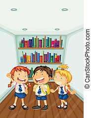 Three kids wearing their school uniforms - Illustration of...