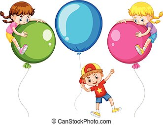 Three kids with big balloons