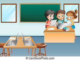 Three kids working on computer in class