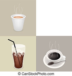 Three Kind of Coffee with Copy Space