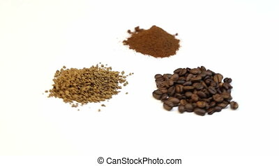 Three kinds of coffee, focusing on white background