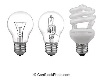 three kinds of light bulbs with Reflection Isolated on White Background. There is a path for each bulb