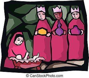 A depiction of the three kings or magi who visited the baby jesus.