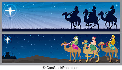 Three Kings Landscapes - Two Christmas banners with the...