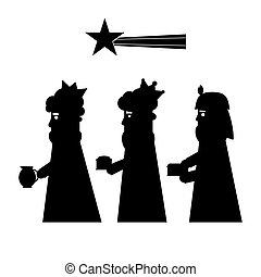 Three kings or wise men silhouette