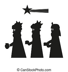 Three kings or wise men silhouette