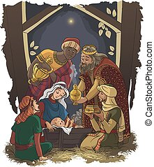 Three Kings. Wise Men in the manger - Nativity scene. Jesus,...