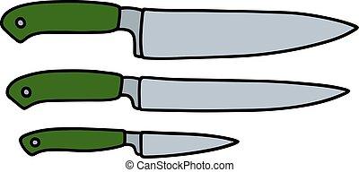 Three kitchen knives