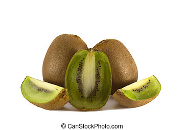 Three kiwi fruits with sigments