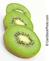 Three kiwi slices