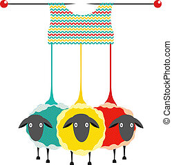 Vector EPS10 graphic illustration of three colored sheep with needles knitting a sweater.