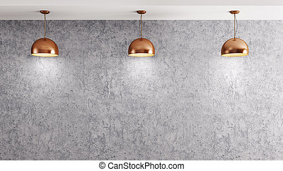 Three lamps over concrete wall 3d rendering