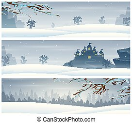 Three landscape banners with winter holiday