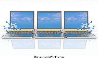 three laptops with a screen from puzzle on white background