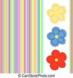 Three large flowers with stripes - Three colorful flowers on...