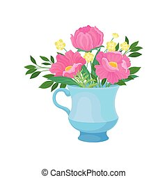 Three large pink flowers in a mug. Vector illustration on white background.