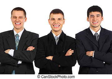 Three laughing businessmen with croosed hands