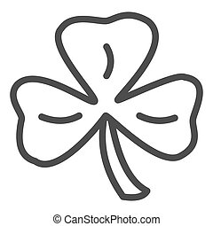 Three leaf clover line icon. Shamrock vector illustration isolated on white. Plant outline style design, designed for web and app. Eps 10.