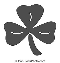 Three leaf clover solid icon. Shamrock vector illustration isolated on white. Plant glyph style design, designed for web and app. Eps 10.
