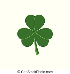 Three leaf shamrock - traditional symbol for St Patrick Day celebration design in flat style.