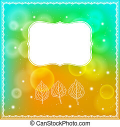 Three leaves and frame on bokeh background
