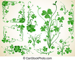 clover design elements - three leaves clover design elements