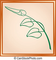 three leaves on branch in frame