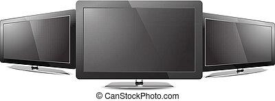 Three Led tv monitor black screen showcase