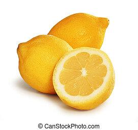 Three lemons over white