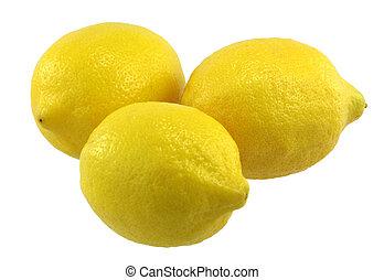 Three Lemons - Three lemons on white background.