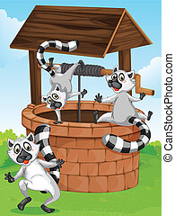 Three lemurs at the man-made well - Illustration of the...