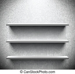 Three lightened shelves on cracked wall - Three lightened...